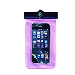 Swiming beach Water Proof Mobile Pouch With Neck Lanyard & Arm Band, dry pouch case Universal cover pink color
