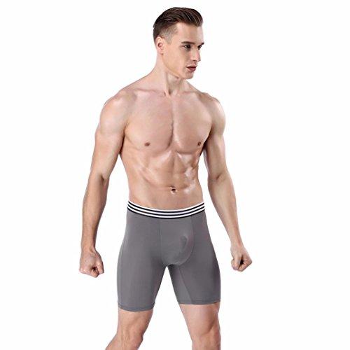 Btruely Boxer Shorts Herren Unterwäsche Lange Perspektive Briefs Männer Unterhose Herren Sportunterwäsche Modal Boxershorts Männer Unterwäsche (Asia Größe XL, Grau)
