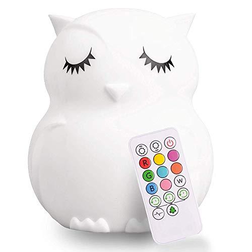 P12cheng Bären-Eulen-Nachtlicht, LED-Licht für Kinderzimmer, Silikon, Farbwechsel für Wohnzimmer, Schlafzimmer, Dekoration, B -