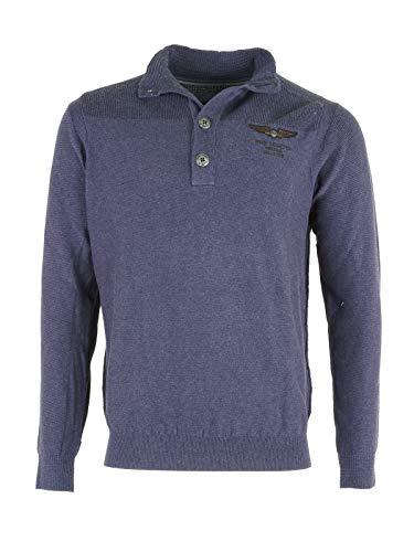 PME Legend Herren Strick Pullover Sewater Knitwear Baumwolle Blau Dunkelblau, Farbe:Dunkelblau,...