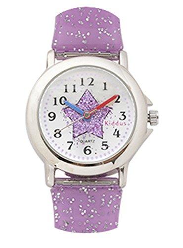 Kinder Armband Uhr für Mädchen, lila Stern mit glitter armband, wasserfest (3 ATM), hohe Qualität Quarz Mechanismus Seiko, Batterie Sony, in Geschenk-Box, Kiddus ref FAB4