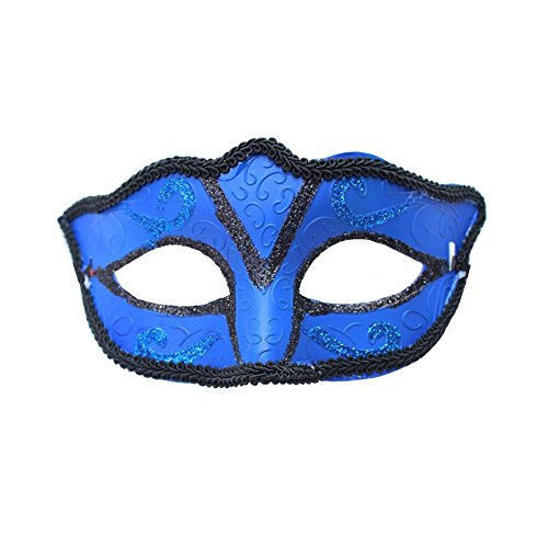 (Masken Gesichtsmaske Gesichtsschutz Domino falsche Front Halloween Männer und Frauen Make-up Tanz Maske Halb Gesicht Maske Blau)