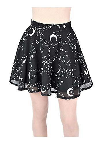 Gothic Women Black Sleeveless Mini Dress Starry Top T-Shirt Sky Short Skirt #03 Black Skirt S (Imgur-t-shirt)