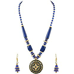 Zephyrr Fashion Tibetan Beaded Necklace Pendant Earrings For Girls and Women
