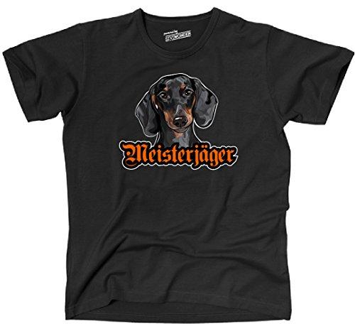 Siviwonder Unisex T-Shirt MEISTERJÄGER Dackel Dachshund Hund Wilsigns Hunde Schwarz