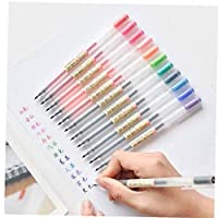 AMOYER Color Gel Pens 12 Colors Set Pretty Colors 0.5mm Fine Tip Graffiti Hand-drawn Line Drawing Pen