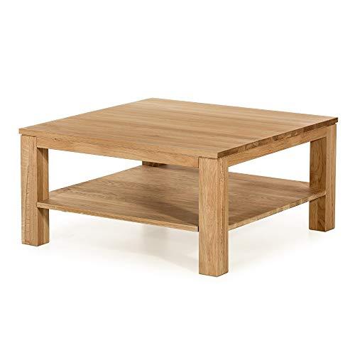 Alkove - Hayes - Table basse en bois massif avec étagère, carrée, Chêne sauvage