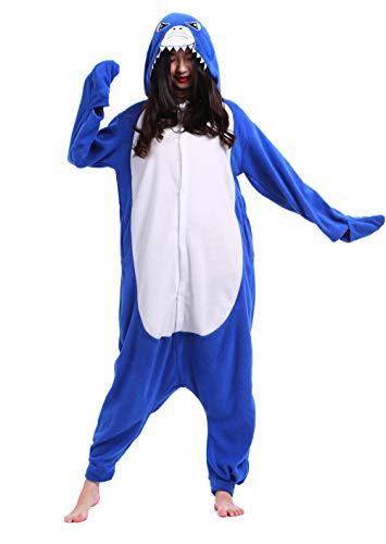 Unisex Pyjama/Schlafanzug/Einteiler, Tiermotiv, für Halloween, Cosplay-Kostüm Gr. Small, hai