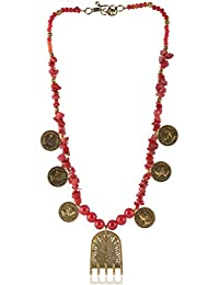 Enaakshi Fashion Jewellery Handmade Necklace With Red Beads Strand Oxidised Silver Pendant Necklace For Women...