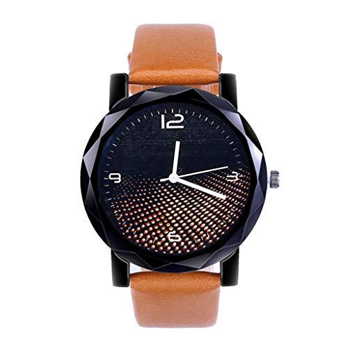 Luckhome Classic Armbanduhr Analog Quarz Leder Damenmode Luxus Freizeit Set Auger Stahl Uhr Einfache Dame Gürteluhr(Kaffee)