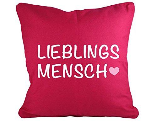 Klebefieber Dekokissen Lieblingsmensch B x H: 40cm x 40cm Farbe: pink