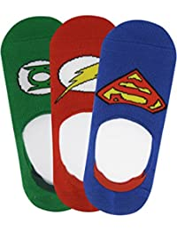 Justice League Kids No Show Socks with Anti Slip Silicon - Superman, Green Lantern, Flash - Pack of 3