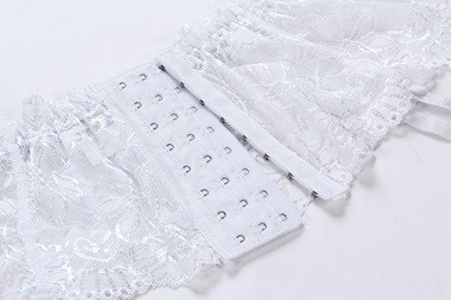 Cszxx Strumpfhalter Damen 4-Strap Lace Strumpfhosen Strapse (Weiß) - 4