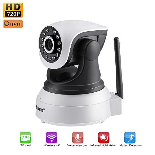 LESHP IP-WLAN-Videokamera mit P2P und IR-Nachtsicht, HD 720p mit Mikrofon und Lautsprecher, Erkennung von Bewegung und Geräuschen, kompatibel mit iOS, Android