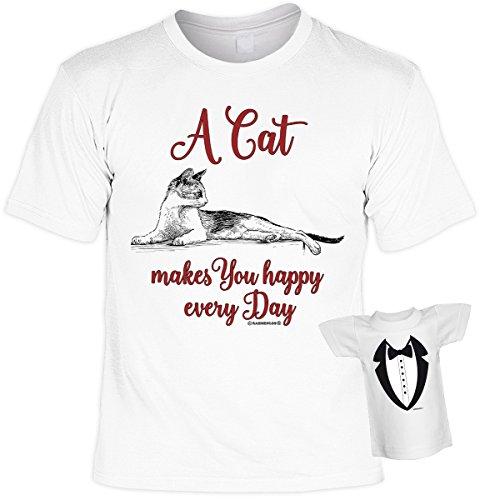Katzen T-Shirt mit Katzenmotiv und Mini Shirt Leiberl - Geburtstag Geschenk Geschenkidee Weihnachten Nikolaus A cat makes you happy Weiß