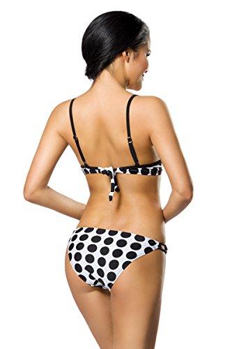 jowiha Push Up Bikini Set inklusive zwei verschiedenen Höschen Größe S - XL Weiß Schwarze Punkte