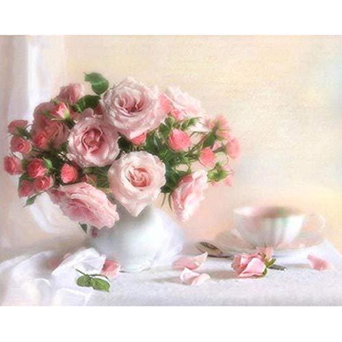 zahl Kit - DIY Ölgemälde Zeichnung Bunte Leinwand Mit Pinsel Dekor Dekorationen - Rosa Rose Weiße Vase 40X50Cm - Rahmenlos ()