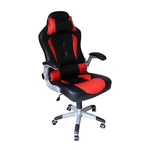 Hengda Sedia girevole da ufficio Sedia imbottiti dicarico sedia Racing Sedia da ufficio Executive regolabile da ufficio Nero/rosso