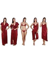 Diljeet® Women Girls Beautiful Satin Nightwear Night Dress Combo Pack of 6   Maroon Nighty Robe Top… 9c28ee591
