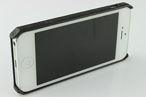 Étui iPhone 5 / 5s / SE, Jisoncase Housse Téléphone Simili Cuir avec Fente pour Cartes Coque Apple iPhone 5 / 5s / SE Case Noir Smartphone Noir