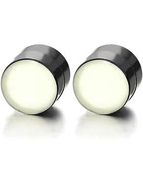 Magnetische Schwarz Kreis Nachtleuchtende Leucht Herren Damen Click-on Fake Piercing Ohrstecker Ohrringe Plugs...