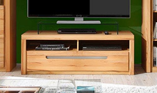 Dreams4Home Lowboard 'Tino VIII' - TV-Unterteil, TV-Schrank, TV-Unterschrank, Schrank, Kommode, Wohnzimmer, TV-Möbel, (B/H/T) 123x43x51 cm, 1 Schubkasten, 2 offene Fächer, Korpus: Kernbuche Nachbildung / Front: Kernbuche massiv, FSC-K: 70%, Ausführung:ohne Glas-TV-Bühne
