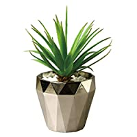 Time Concept Imitation Yucca in Silver Pot - Artificial Plant, Indoor & Outdoor Display, Home & Garden Decor