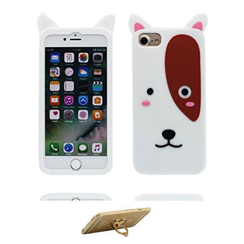 "iPhone 6s Plus Coque Case, TPU Material Flexible iPhone 6S Plus Étui, iPhone 6 Plus Cover 5.5"" [Choc à l'épreuve] [ Pretty Soft Plastique ] ring Support - Cartoon cactus (rouge) blanc 2"