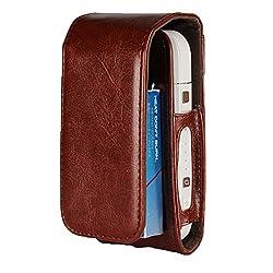 EximMobile - Tasche für IQOS Schutz Case in Dunkelbraun Schutzhülle Schutztasche Etui Cover Bag
