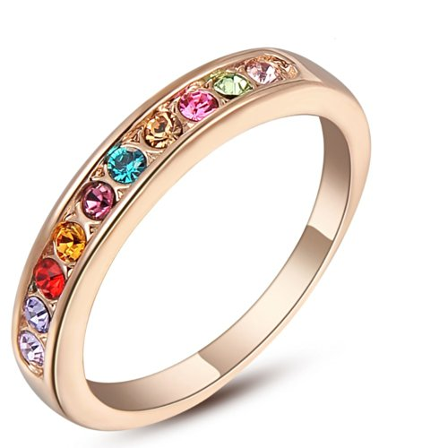 clásico anillo deslumbrante con cristales de swarovski oro de 18 quilates chapado en tamaño N