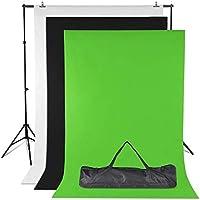 Amzdeal Soporte de Fondo 2 * 3m con 3 Fondos Fotográficos 1.6 * 2m (Negro\Blanco\Verde) y 2 Pinzas para Fotografía versión