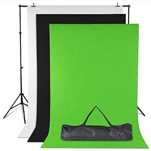 Amzdeal Soporte de Fondo 2 * 3m con 3 Fondos Fotográficos 1.6 * 2m (Negro\Blanco\Verde) y 2 Pinzas para Fotografía versión (Traje pequeño)
