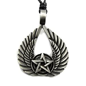 Mystical & Magical Pewter Winged Pentagram Pendant Pagan Gothic Pentacle
