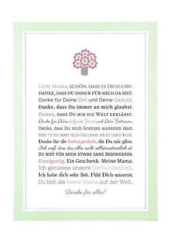 Danke Mama, Geschenk für Mama, Muttertagsgeschenk - besondere Geschenkidee zum Muttertag, Geburtstag, Weihnachten - persönliches Bild für die Mutter, personalisiertes Bild, Kunstdruck, DIN A4