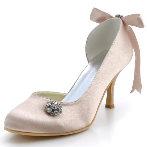 ElegantPark E0618 Raso Punta Chiusa Nastro Diamante Bowknot Tacco Alto Scarpe da sposa Ballo Partito da Sera Champagne 40