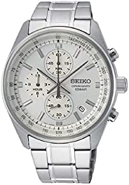 Seiko Chronograph with Tachymeter Stainless Steel Watch, White, SSB375P1