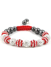 11-Ball Dual Double Colour Row Red and White Bead Shamballa Bracelet on Red & White String ** EXCLUSIVE DESIGN **