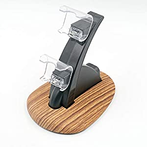 Mcbazel Dual PS4 Controller Ladestation Charger Docking Ladegerät Stand mit USB Kabel und LED für PS4 / PS4 Slim / PS4 Pro Game Controller – Holz
