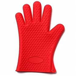 Thicken Silicone Heat Resistant Gloves Grilling Gloves Antiskid BBQ Cooking Protective Gloves (Red)