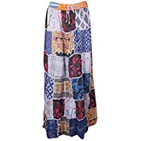 Women Colorful Skirt Patchwork Rayon Vintage Gypsy Flare Flirty Skirts S/M
