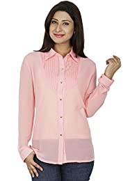 SVT ADA COLLECTIONS Georgette Peach Color Designer Elegant Shirt