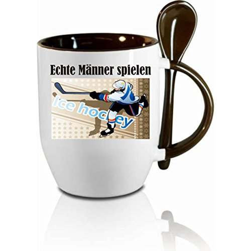 Tasse m. Löffel' Echte Männer spielen Eishockey ' Löffeltasse, Kaffeetasse mit Motiv,Bürotasse,...