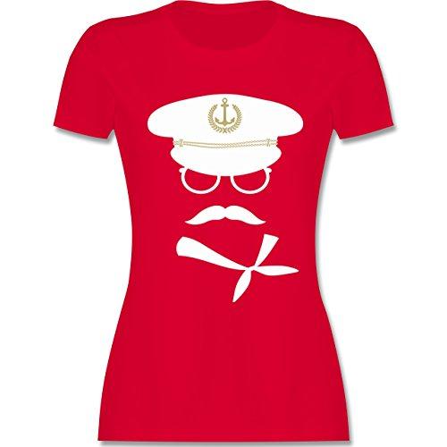 iß/Gold - XL - Rot - L191 - Damen T-Shirt Rundhals (Sexy Sailor Captain Kostüme)