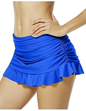 Pantaloncini A Righe In Tuffo Di Colore Solido Delle Donne Con Fondo In Bikini Con Gonna A Skirt