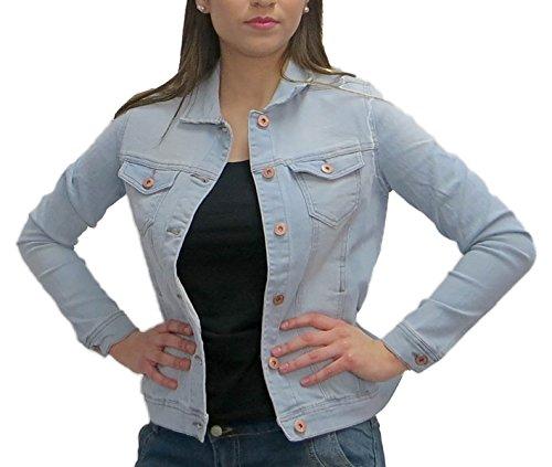 Damen DENIM JACKET Jeansjacke women jacket Jeans Jacke, Farbe:Hellblau;Größe:40