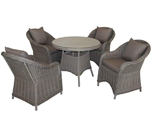 KMH®, 5-teilige Gartensitzgruppe - 1 runder Tisch und 4 Gartensessel inkl. Sitzkissen (#106101) - Runde Sessel