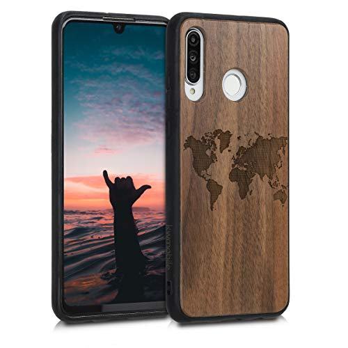 kwmobile Holz Schutzhülle für Huawei P30 Lite - Hardcase Hülle mit TPU Bumper Walnussholz in Travel Umriss Design Dunkelbraun - Handy Case Cover
