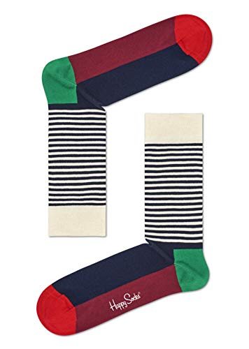 Happy Socks Herren Half Stripe Socken, Grün (Khaki 7000), One Size (Herstellergröße: 41-46) (Schwarz Halloween Weiß Und Happy)