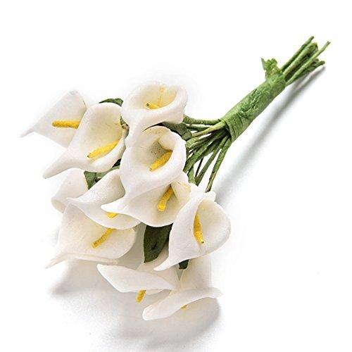 Woopower Lot de 12 Fleurs d'Arum artificielles colorées En latex Pour bouquet de mariée Sensation réelle, blanc, Taille unique