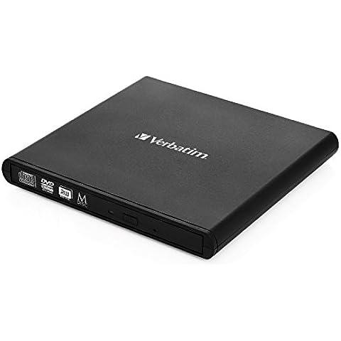 Verbatim Slimline CD/DVD DVD-RW Negro - Unidad de disco óptico (Portátil, DVD-RW, Negro, USB 2.0, CD, CD-R, CD-RW, DVD, DVD+R, DVD+R DL, DVD+RW, DVD-R, DVD-R DL, DVD-RAM, DVD-ROM, Horizontal)